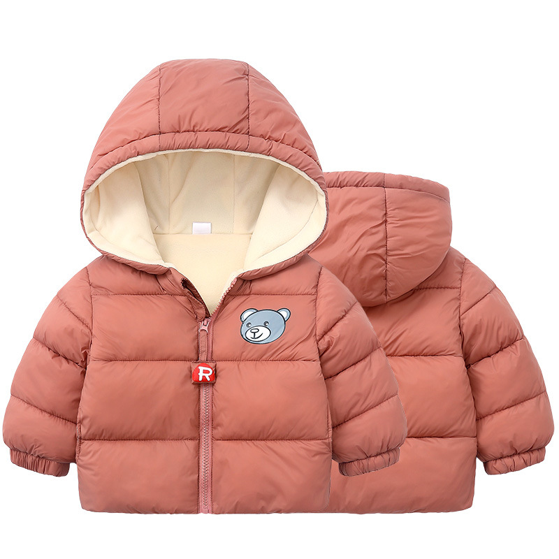 Hot Sale Girls Child Winter Hooded Coat Kids Baby Plush Love Printed Full Zipper Tops Outwear with Pockets