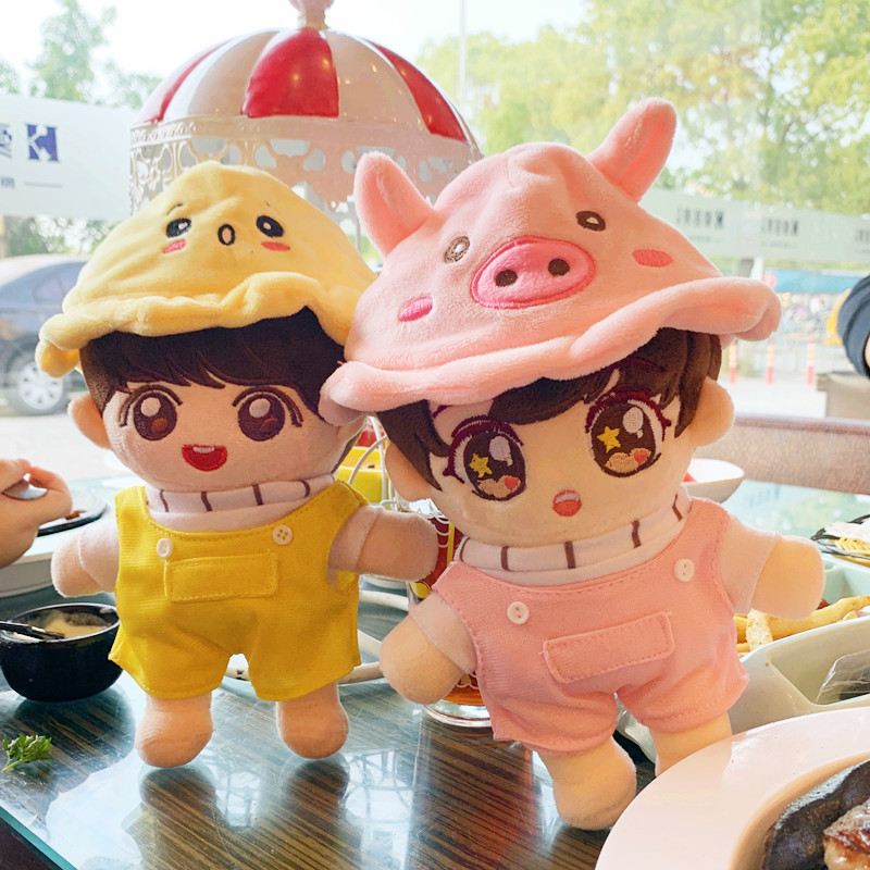 20cm Korea Cute Plush Doll Clothes Toy Doll Soft Cotton Clothes Yellow Hat Pink Sweatshirt Dolls Accessory Fans Gift Collection