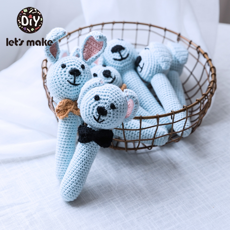 Let'S Make 1pc Wool Cartoon Animal Baby Rattle Crochet Pattern Rabbit <font><b>New</b></font> <font><b>Born</b></font> Baby <font><b>Toys</b></font> Soft Rattles For Kids Stroller Game image