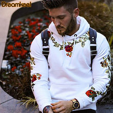 Flower Embroidery Hoodies 2020 Men Oversize Sweatshirts Autumn Winter Hip Hop Warm Long Sleeve Hoodies Men Pullover One Piece R(China)