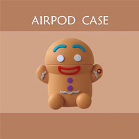 Para Airpods 3D Cute Gingerbread Man cartoon Silicone estuches para auriculares para Apple Airpods 1 2 funda protectora suave con gancho|Accesorios de auriculares|Productos electrónicos -