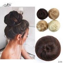 Xuanguang cabelo sintético chignon preto marrom mix cor 30g almofada de Pane de cabelo пончик-шиньон borracha extensъyes de cabelo