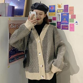 New  Knitted Striped Cardigan Sweater Women Fashion Patchwork Top Spring 2020 Long Sleeve Casual Outwears V Neck Buttons Coat twist front v neck striped top