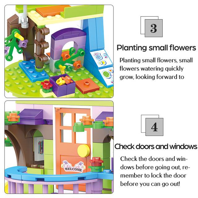 City Girl Tree House Building Blocks Compatible  Friends Secret Hut DIY Enlighten Bricks Christmas Gift Toys for Girls