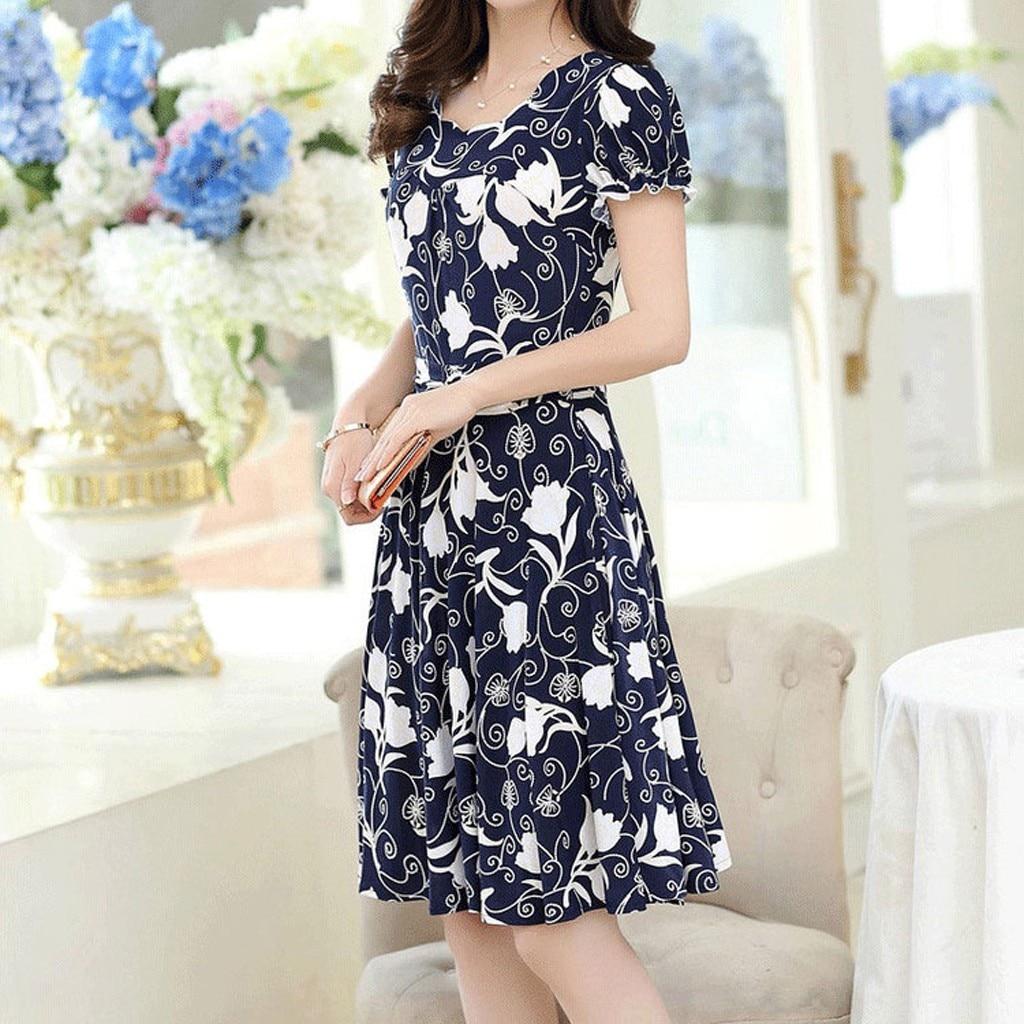 Fashion Dress Women Elegant O-neck Knee Length Office Casual Dresses Ladies Short Sleeve Retro Printing Dress Vestidos #P2 3