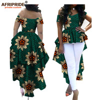 2019 african women clothes AFRIPRIDE ankara V neck off shoulder coat with dashiki double ankle length back plus size A722412