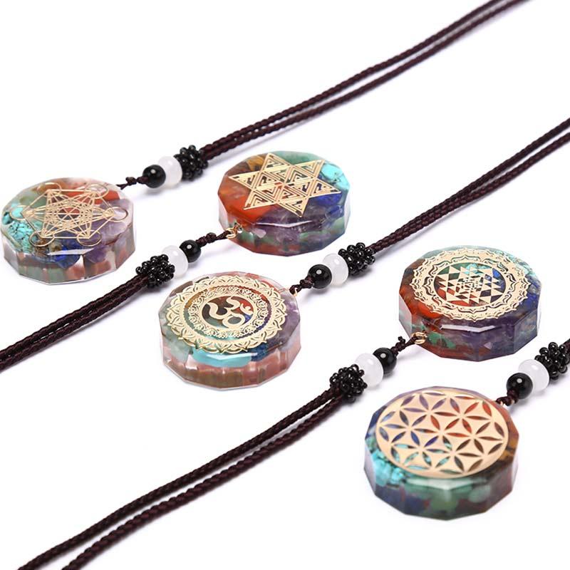 Orgonite Pendant Om Symbol Necklace Chakra Healing Energy Necklace Meditation Jewelry Handmade Crystals