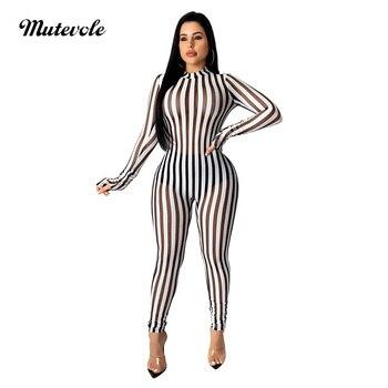 Mutevole Women Sexy See Through Stripe Jumpsuit Clubwear Fashion Long Sleeve Mesh Jumpsuit Bodycon Zipper One Piece Jumpsuit фото