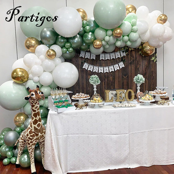 107pcs Latex Balloons Jungle Party Balloon Chain Macaron Green White Garland Metal Gold Balloon Birthday Party Wedding Decor