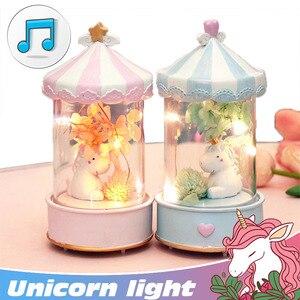 Image 2 - חד קרן לילה אור מוסיקה תיבת חמוד סוס מנורת קישוט חדר שינה ילד חבר הודיה חג המולד ילדה יום הולדת מתנה