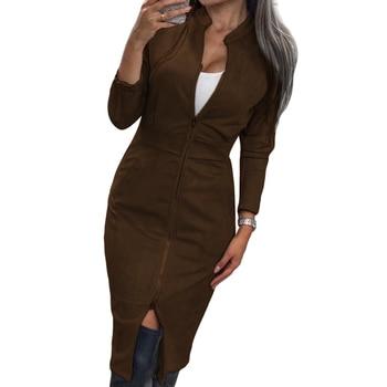 Женское винтажное офисное платье TAOVK, облегающее платье на молнии с длинным рукавом и воротником-стойкой 3