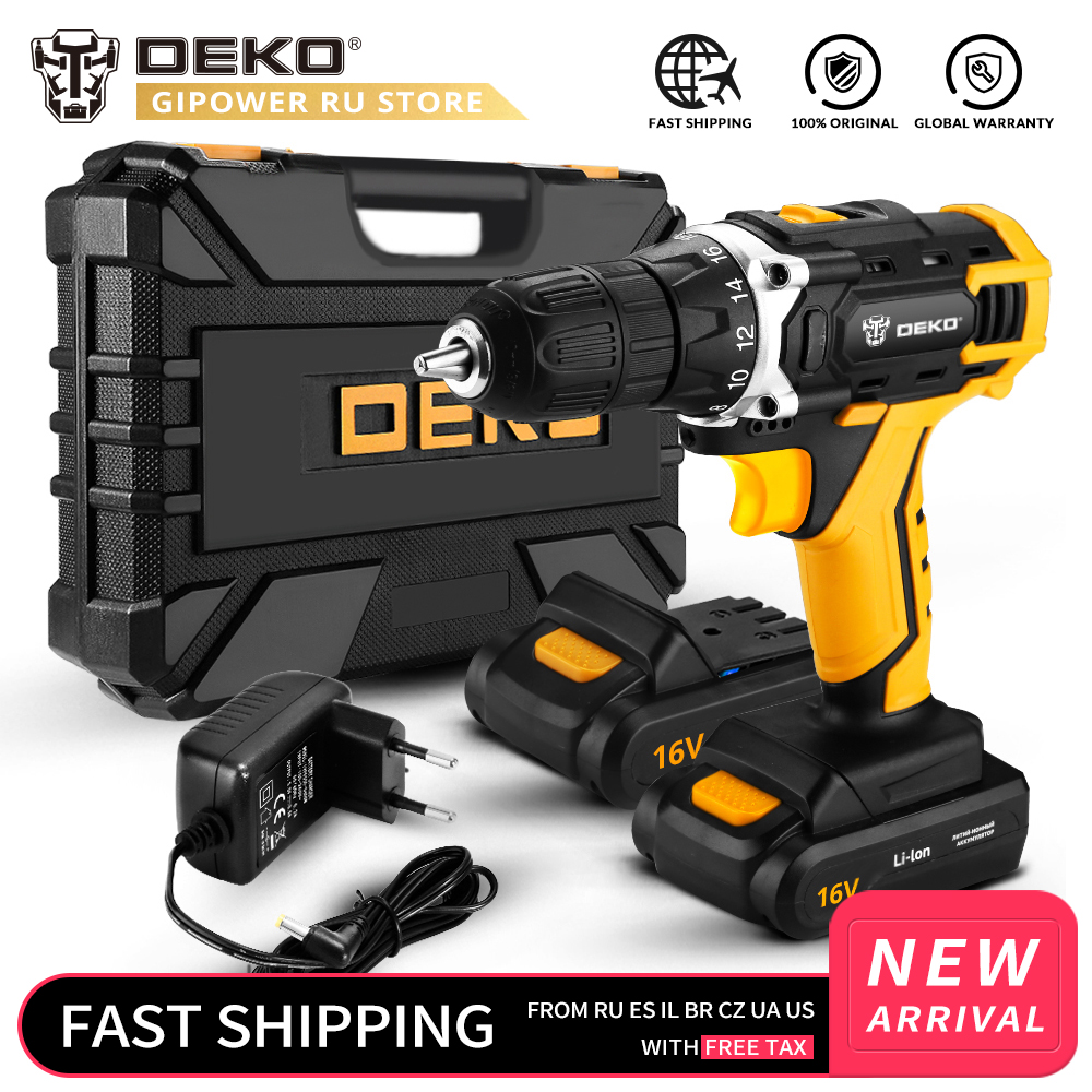 DEKO New Loner 16V DC Cordless Drill with Lithium Ion Battery Pack Home DIY Electric Screwdriver LED Mini Wireless Power Driver-in Electric Drills from Tools