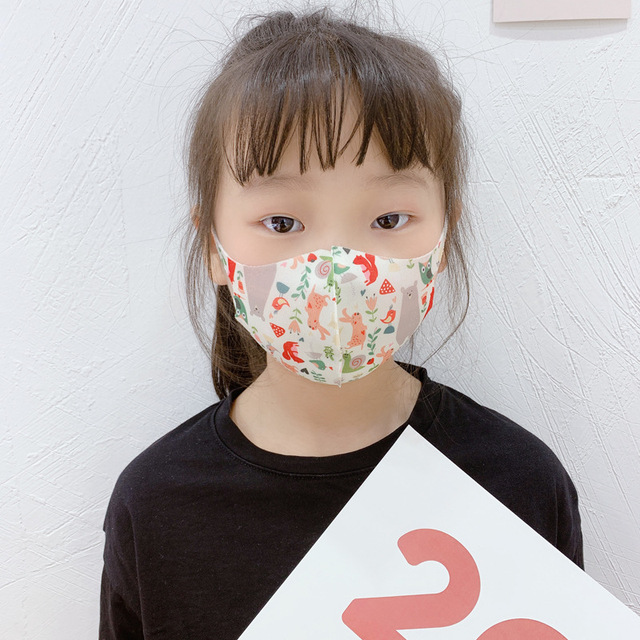 10Pcs PM2.5 Summer Children Mask Breathable Cartoon Pattern Unicorn Anti Smog Mask 3D Dust Mask Fits 4-12 Years Old Kid Washable 2