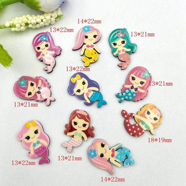 20pcs Lovely Colorful mix Various Mermaid For Home Wedding Decor Crafts Making Scrapbooking DIY Hair Bow Center 3