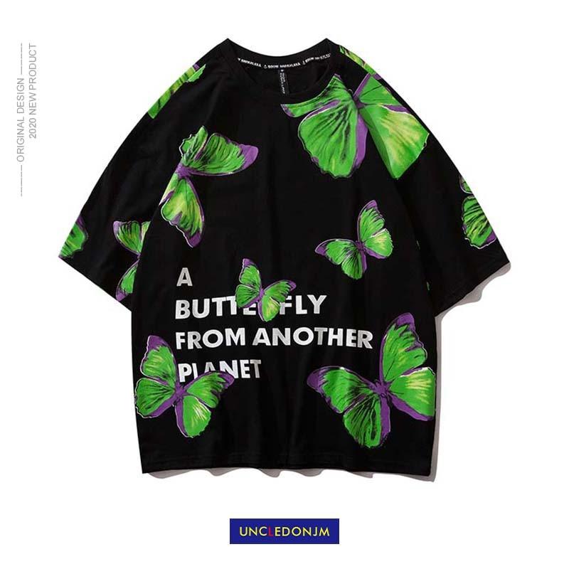 UNCLEDONJM Green Butterfly Street Fashon T shirt Men Women 2020 Summer Crew Neck Men s Tshirt
