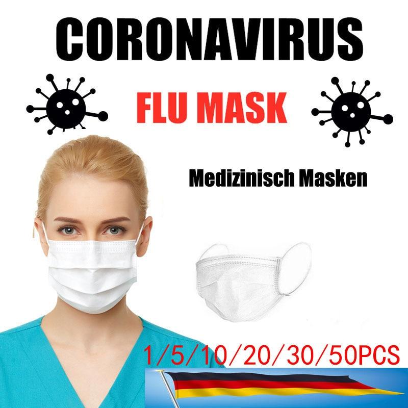5/10/20/30/50 PCS Disposable Mask White Mouth Face Masks 3 Layer Masks Disposable Face Mask Non-Woven Mask Anti-Dust Face Masks