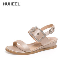 NUHEEL women's shoes summer new shallow mouth buckle rhinestone elegant style sandals flat bottom increased shoes women