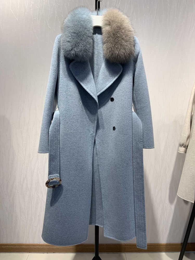 Oftbuy 2019 Baru Nyata Mantel Bulu Alami Fox Bulu Kerah Jaket Musim Dingin Wanita Campuran Wol Slim Panjang Pakaian Luar Belt Wanita streetwear