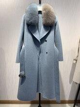 Oftbuy 2020 novo casaco de pele real natural gola de pele de raposa jaqueta de inverno feminino lã misturas fino longo outerwear cinto senhoras streetwear