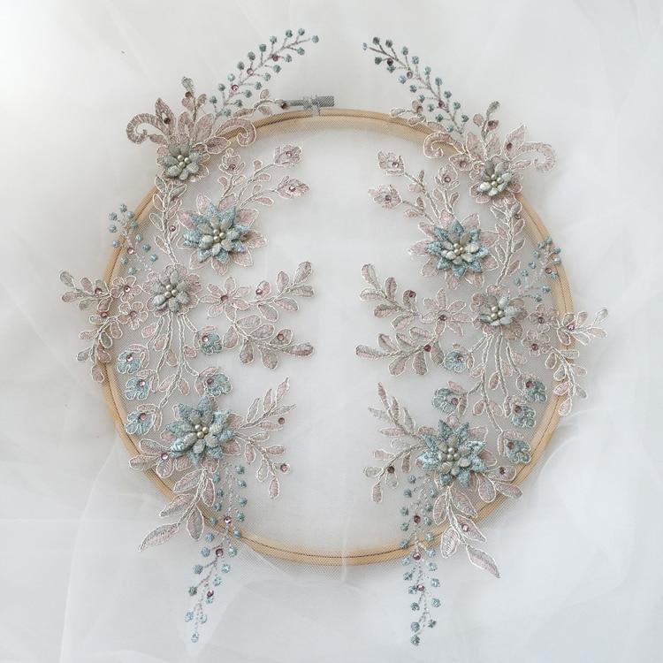 Ensemble de 2 pièces/1 paire de robes colorées | En dentelle perlée et fleurs 3D, avec appliques, robe de mariée, coiffure, vêtements pour enfants, accessoires pour spectacle de danse