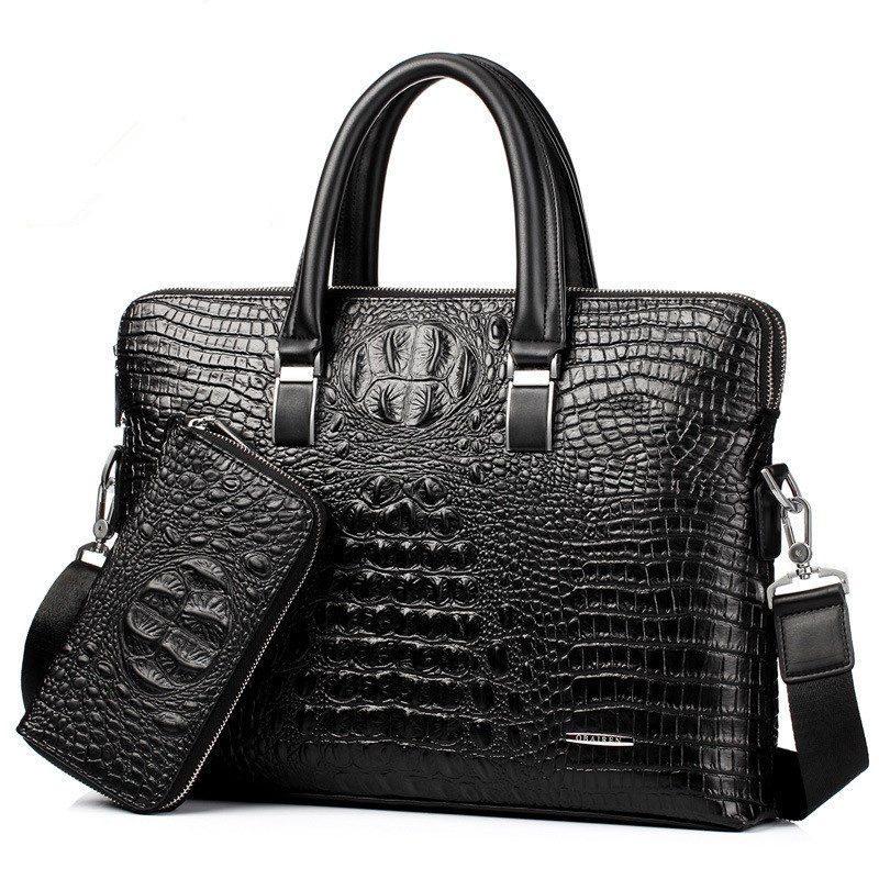 Men Business Handbag Cross Section Crocodile Pattern Casual Briefcase PU Leather Messenger Bag For Men