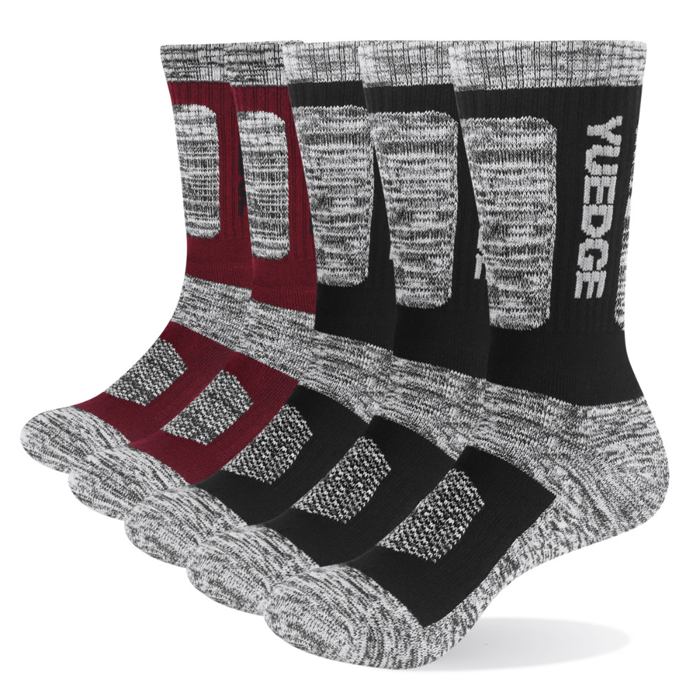 YUEDGE Knee High Cushion Ski Socks Winter Sports Socks Thick Winter Thermal Warm Socks For Women and Men 2 Pairs Pack