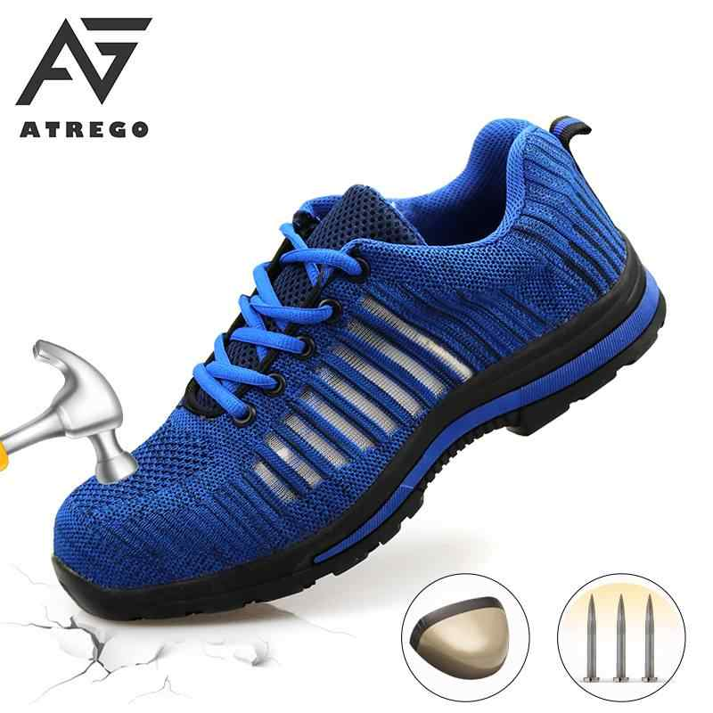 AtreGo Men/'s Anti-puncture Steel Toe Safety Work Shoes Bulletproof Boots UK