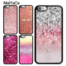 MaiYaCa Liefde ROZE Glitter Bloemen Patroon Cover Voor iPhone 5 6 6s 7 8 plus 11 Pro X XR XS Max Samsung S7edge S8 S9 S10 Plus(China)