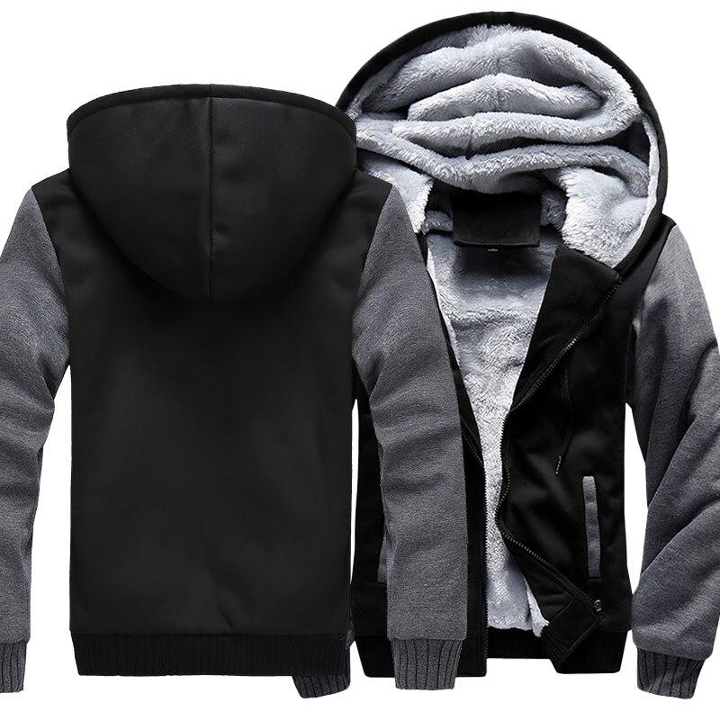US Size For Eagle Logo Coat Zipper Hoodie Winter Fleece Unisex Thicken Jacket