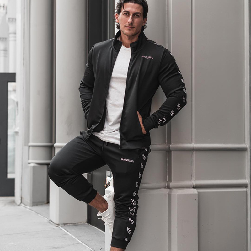 Fitness Suit Set Men's Spring And Autumn Stand Collar Coat Trousers Two-Piece Set Running Sports Outdoor Casual