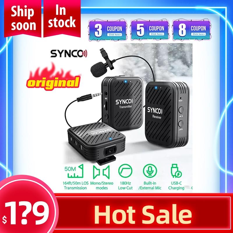 SYNCO-Sistema con micrófono inalámbrico G1(A2) para Smartphone, portátil, DSLR, tableta, videocámara, pk comica