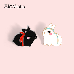 Fat Untamed Bunny Enamel Pin Cute White Rabbit Animal Badges Brooches Backpack Bag Accessories Lapel Pin Gift for Kids Friends