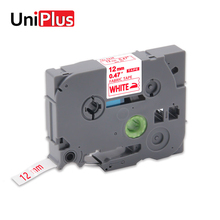 UniPlus Red on White TZe-FA3R TZ-FA3R tze FA3R Fabric Label Maker 12mm Compatible for Brother P-touch Iron bags 3m Tape