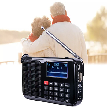 L388 Mini Solar Power Speaker Mp3 Audio Music Player with LED Emergency Light(Black)