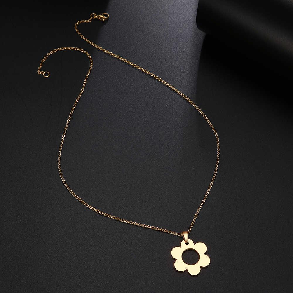 DOTIFI naszyjnik ze stali nierdzewnej dla kobiet Man Lover's Flower Choker naszyjnik biżuteria zaręczynowa