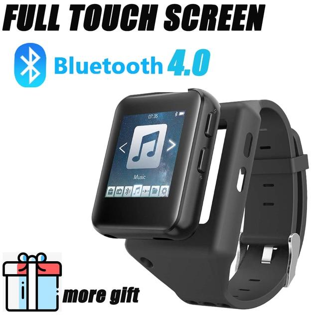 Bluetooth MP3 zegarek z ekranem dotykowym 8/16GB klip MP3 odtwarzacz dla bieganie jazda na rowerze piesze wycieczki wsparcie nagrywania, Radio FM