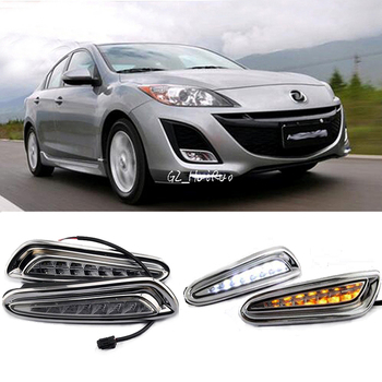 White+Yellow LED Daytime Running Light For Mazda 3 Axela Car Fog Lamp DRL 2010 2011 2012 2013
