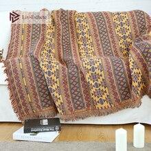 Liv-Esthete Retro Bohemia Exotic 100% Cotton Blanket Throw Tassel Adult Sofa Bed Sleeping Bag Wrap Knitted