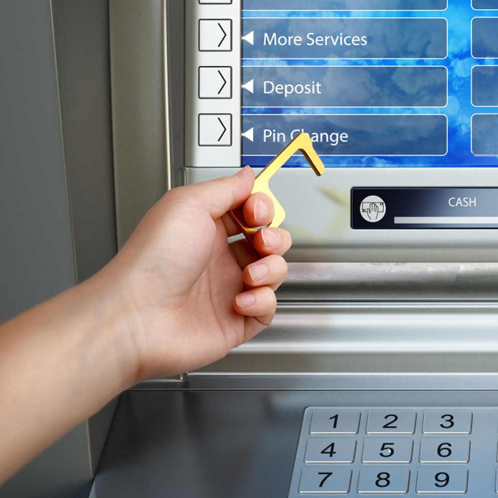 Cleankey hijyen el antimikrobiyal pirinç renk EDC kapı açacağı ve Stylus taşınabilir basın asansör aracı kapı kolu anahtar akıllı kanca