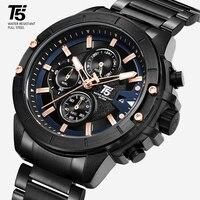 Роскошные розовые золотые T5 стальные черные Брендовые мужские кварцевые хронограф водонепроницаемые Модные мужские спортивные часы наруч
