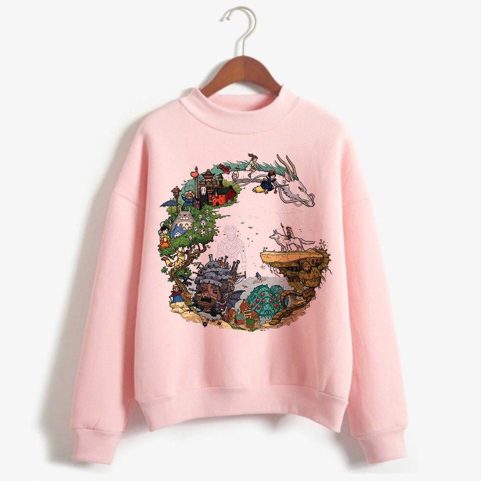 Spirited Away Totoro Japanese Hood Women Hoodie Studio Ghibli Kawaii Sweatshirt Oversized Cartoon Female Ulzzang Pink Anime