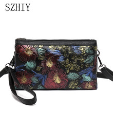 Vintage Crossbody Bags For Women Genuine Leather Shoulder Bag Printing Purses Luxury Floral Soft Clutch Multi-pocket Small Black(China)