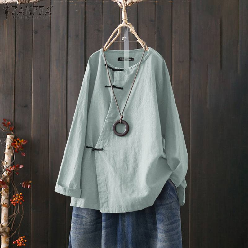 ZANZEA Women Tops And Blouses 2020 Vintage O Neck Shirts Casual Long Sleeve Tunic Tops Cotton Solid Long Sleeve Blusas Chemise 7