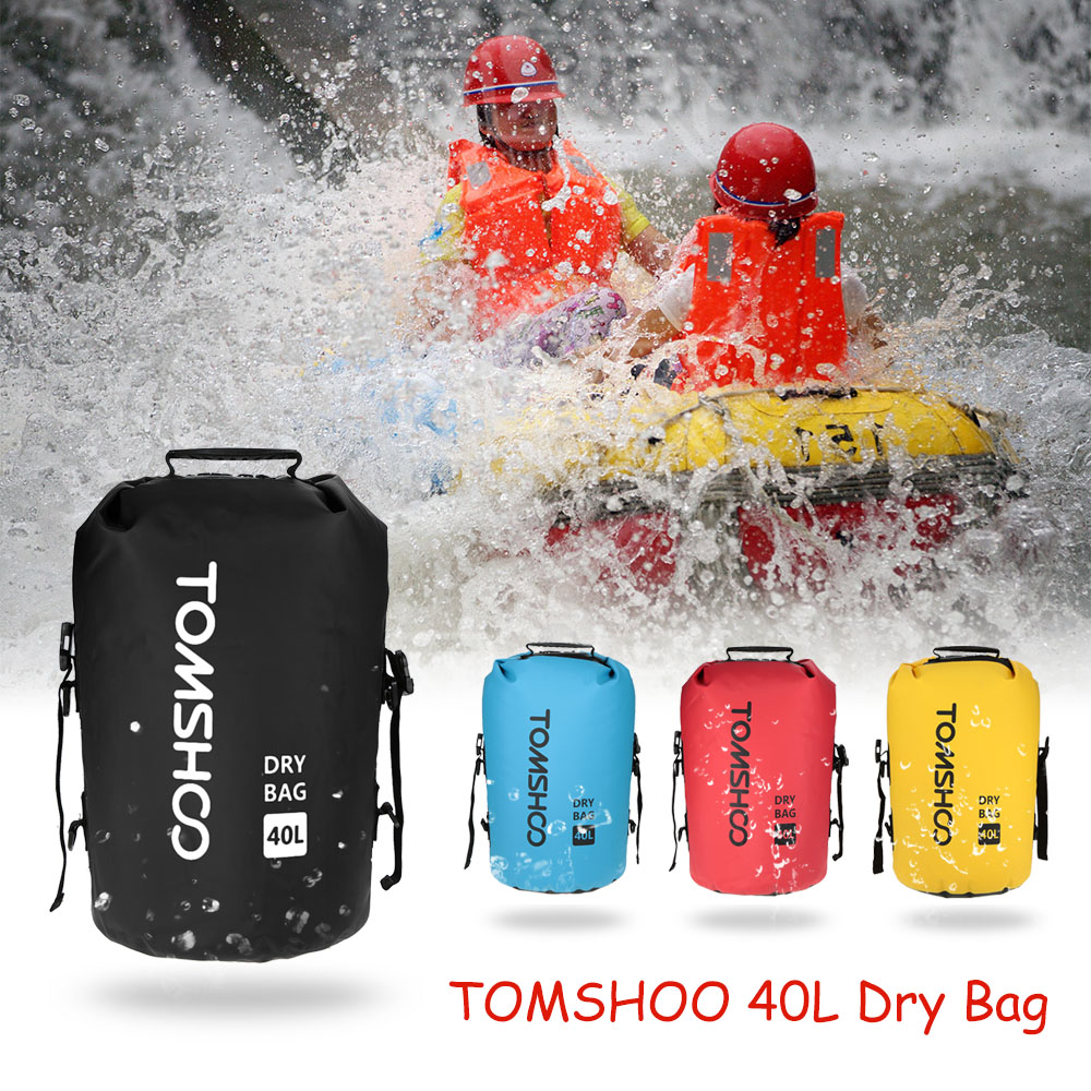 TOMSHOO Portable 40L Outdoor Waterproof Bag For Trekking Fishing Dry Bag Camping Sack Storage Bag For Travelling Rafting Boating