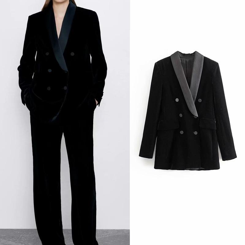England Elegant Women Blazer Velvet Double Breasted Black Patchwork Blazers Coat Women Outerwear Loose Suit Women 's Jacket