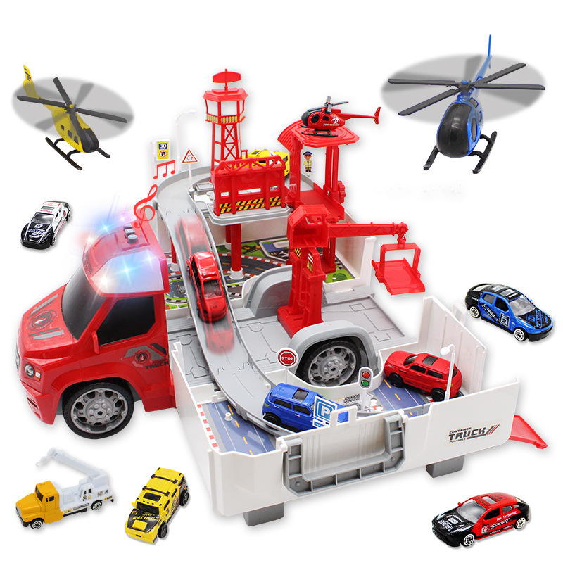 Genuine Product Into Konami Container Parking Lot Police Firefighting Engineering Race Car 4-Transformation Alloy Camera Track P
