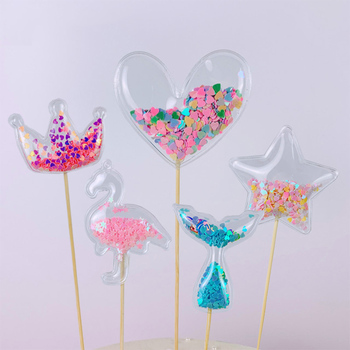 Fashion PVC Cake Topper Love Crown Shiny Cupcake Topper For Party Baby Shower Wedding Birthday Party Cake Decoration Supply image