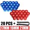 Para a proteção exterior do carro 20 pçs 17/19/21mm universal roda porca parafuso tampa + ferramenta de remoção 2 cores mayitr