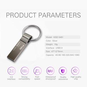 Image 4 - Pen drive wansenda, usb flash drive metal 4gb 8gb 16gb 32gb 64gb bastão flash drive com chaveiro