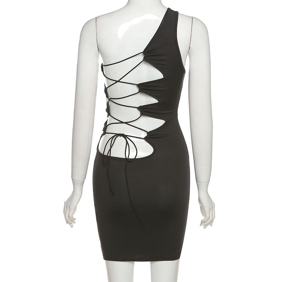 Summer Black Sexy Hollow One Shoulder Y2K Mini Dress Women Sleeveless Backless Bandage Party Clubwear Beach Slim Dresses 2021New 5